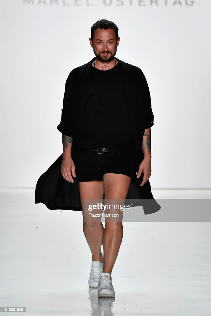 Designer Marcel Ostertag walks the runway at the Marcel Ostertag fashion show during New York Fashion Week: The Shows at Gallery 3, Skylight Clarkson Sq on September 13, 2017 in New York City.