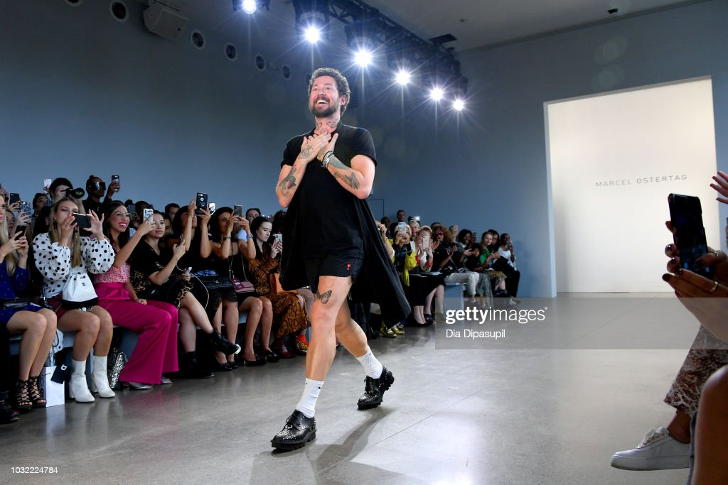 Designer Marcel Ostertag walks the runway at the Marcel Ostertag front Row during New York Fashion Week: The Shows at Gallery II at Spring Studios on September 12, 2018 in New York City.
