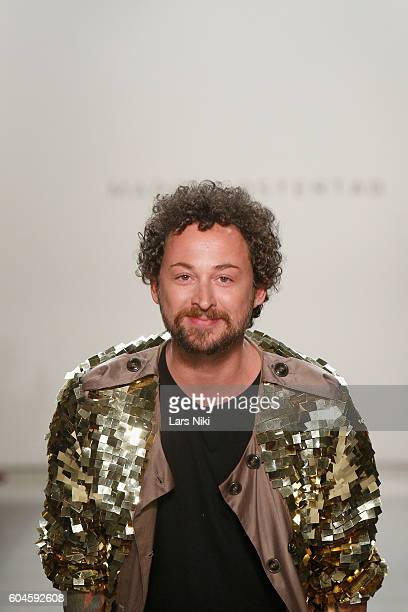Designer Marcel Ostertag walks the runway during Marcel Ostertag S/S 2017 Collection at The Gallery at Skylight Clarkson Sq on September 13 2016 in...