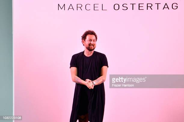 Designer Marcel Ostertag walks the runway for Marcel Ostertag during New York Fashion Week The Shows at Gallery II at Spring Studios on September 12...