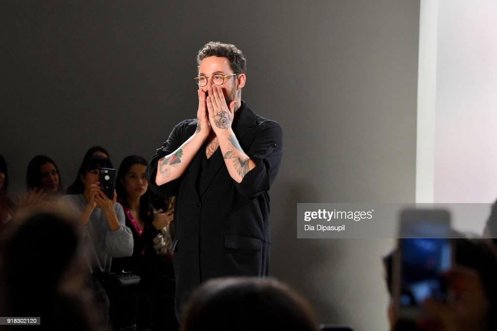 Designer Marcel Ostertag walks the runway for Marcel Ostertag front row during New York Fashion Week: The Shows at Gallery II at Spring Studios on February 14, 2018 in New York City.