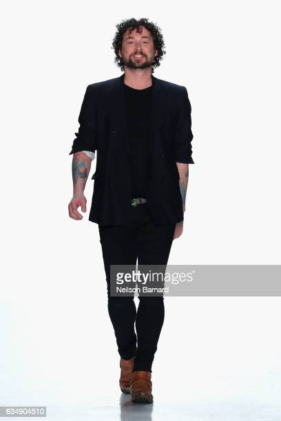 Designer Marcel Ostertag walks the runway for the Marcel Ostertag collection during New York Fashion Week The Shows at Gallery 3 Skylight Clarkson Sq...