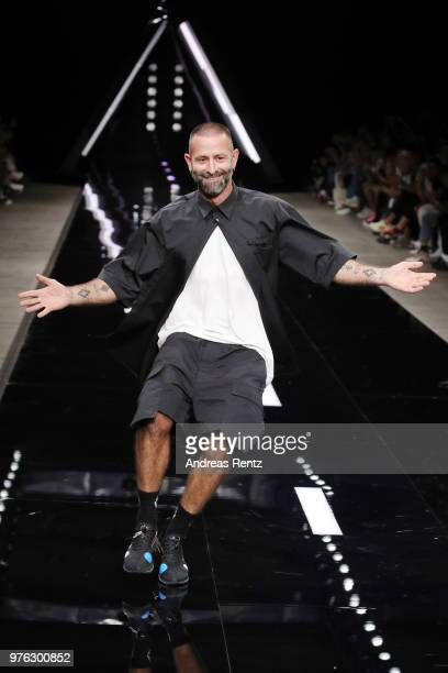 Designer Marcelo Burlon acknowledge the applause of the audience at the Marcelo Burlon County Of Milan show during Milan Men's Fashion Week...
