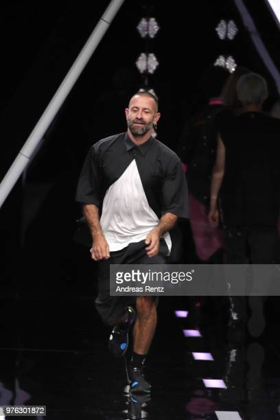 Designer Marcelo Burlon acknowledges the applause of the audience at the Marcelo Burlon County Of Milan show during Milan Men's Fashion Week...