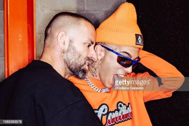Designer Marcelo Burlon and Italian Rapper Sfera Ebbasta are seen backstage ahead of the Marcelo Burlon County Of Milan show during Milan Menswear...