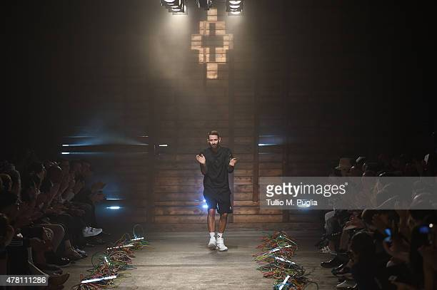 Designer Marcelo Burlon on the runway after the Marcelo Burlon County of Milan fashion show as part of Milan Men's Fashion Week Spring/Summer 2016 on...