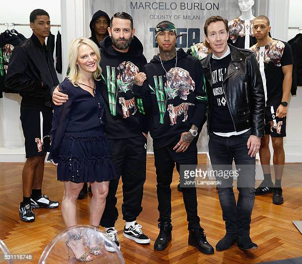 Designer Marcelo Burlon x artist Tyga and Saks VP and fashion director Eric Jennings attend Tyga Capsule Collection Launch at Saks Fifth Avenue on...