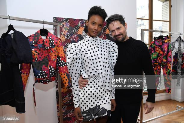 Designer Marco Colagrossi poses during the Emanuel Ungaro presentation as part of the Paris Fashion Week Womenswear Fall/Winter 2018/2019 at Avenue...