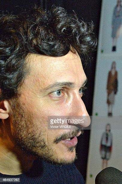 Designer Marco Di Vincenzo backstage at the Marco De Vincenzo show during the Milan Fashion Week Autumn/Winter 2015 on February 27 2015 in Milan Italy