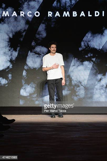 Designer Marco Rambaldi acknowledges the applause of the audience during the New Upcoming Designers as a part of Milan Fashion Week Womenswear...