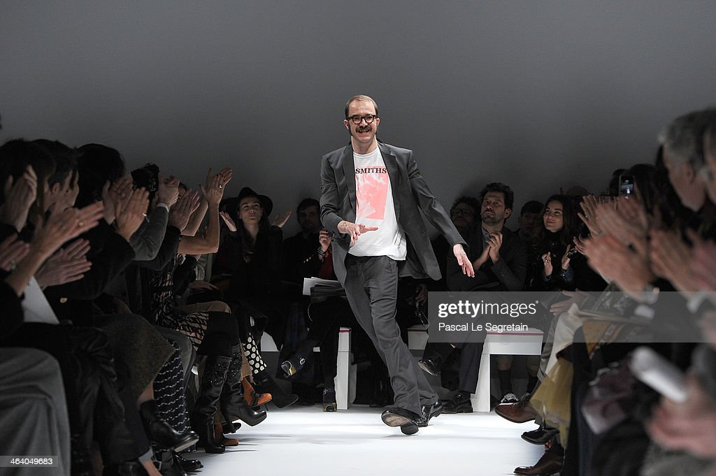 Designer Marco Zanini acknowledges the applause of the public after the Schiaparelli show as part of Paris Fashion Week Haute Couture Spring/Summer 2014 on January 20, 2014 in Paris, France.