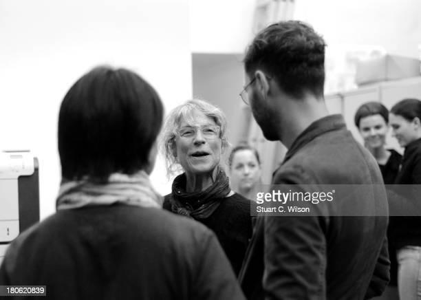 Designer Margaret Howell speaks backstage prior to her show during London Fashion Week SS14 on September 15 2013 in London England