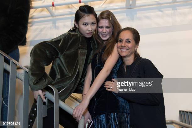 Designer Maria Cornejo poses with models in backstage at Zero Maria Cornejo Presentation February 2018 New York Fashion Week on February 12 2018 in...
