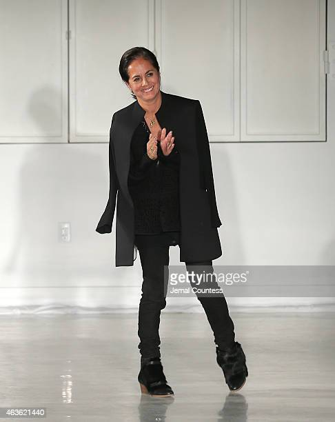 Designer Maria Cornejo walks at the Zero Maria Cornejoat fashion show during MercedesBenz Fashion Week Fall 2015 at Location05 on February 16 2015 in...