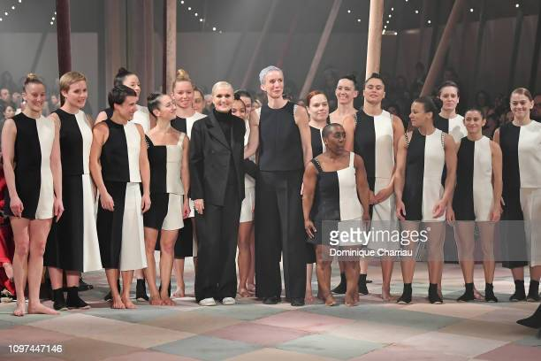 Designer Maria Grazia Chiuri acknowledges the applause of the audience after the Christian Dior Haute Couture Spring Summer 2019 show as part of...