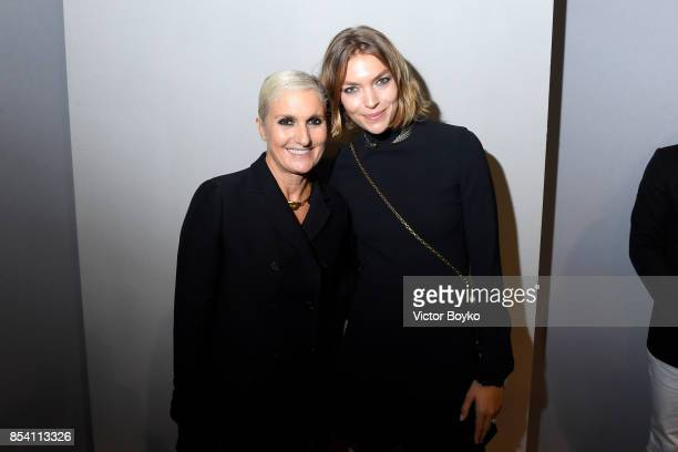 Designer Maria Grazia Chiuri and Arizona Muse pose backstage after the Christian Dior show as part of the Paris Fashion Week Womenswear Spring/Summer...