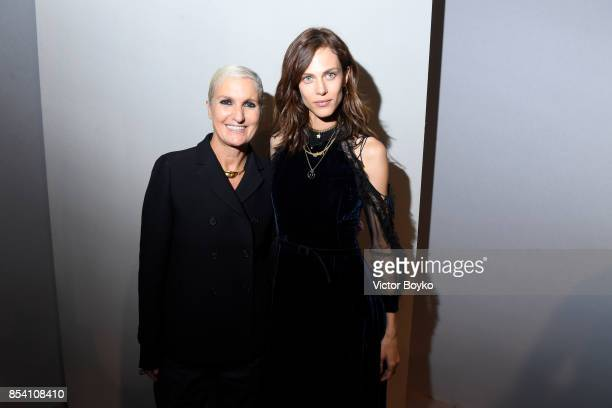 Designer Maria Grazia Chiuri and Aymeline Valade pose backstage after the Christian Dior show as part of the Paris Fashion Week Womenswear...