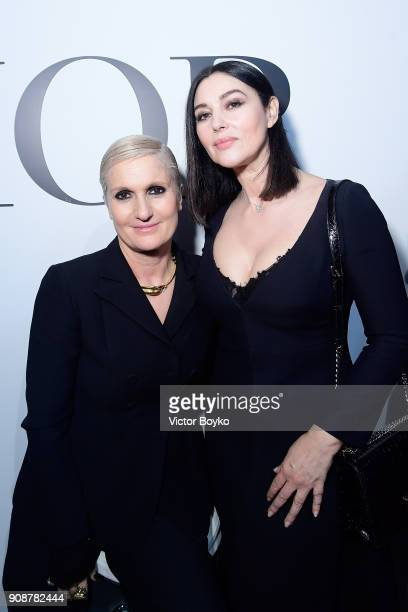 Designer Maria Grazia Chiuri and Monica Belluci attend the Christian Dior Haute Couture Spring Summer 2018 show as part of Paris Fashion Week on...