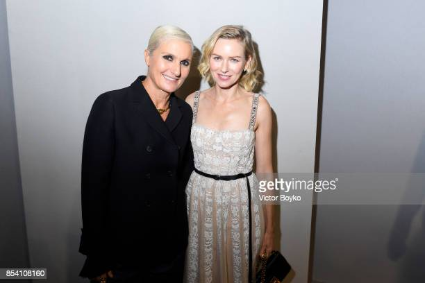 Designer Maria Grazia Chiuri and Naomi Watts pose backstage after the Christian Dior show as part of the Paris Fashion Week Womenswear Spring/Summer...