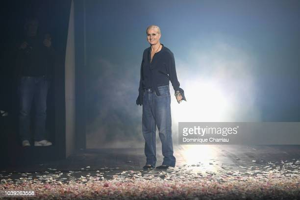 Designer Maria Grazia Chiuri greets at the end of the show during the Christian Dior show as part of the Paris Fashion Week Womenswear Spring/Summer...