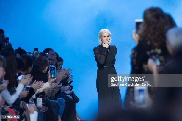 Designer Maria Grazia Chiuri is seen on the runway during the Christian Dior show as part of the Paris Fashion Week Womenswear Fall/Winter 2017/2018...