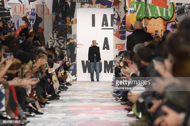Designer Maria Grazia Chiuri walks the runway during the Christian Dior show as part of the Paris Fashion Week Womenswear Fall/Winter 2018/2019 on...