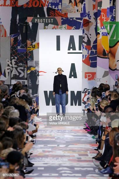 Designer Maria Grazia Chiuri walks the runway during the Christian Dior Ready to Wear Fall/Winter 20182019 fashion show as part of the Paris Fashion...
