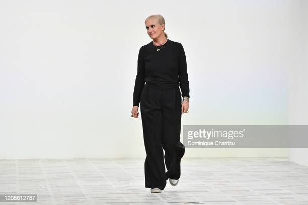 Designer Maria Grazia Chiuri walks the runway during the Dior show as part of the Paris Fashion Week Womenswear Fall/Winter 2020/2021 on February 25...