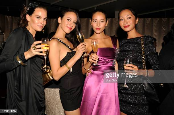 Designer Maria Hietanen Models Angelica Michibata Jessica Michibata and Asami Ferguson attend 'Tribute to Cinema' hosted by Moet Chandon at Mado...