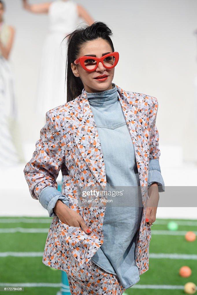 Designer Mariam Yehia walks the runway during the Mrs. Keepa Presentation at Fashion Forward Spring/Summer 2017 held at the Dubai Design District on October 22, 2016 in Dubai, United Arab Emirates.