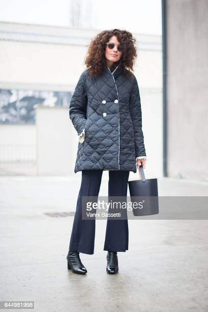 Designer Marianna Cimini poses wearing Marianna Cimini after the Lucio Vanotti show during Milan Fashion Week Fall/Winter 2017/18 on February 24 2017...
