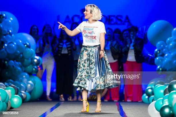 Designer Marina Conde walks the runway at the 'La Condesa' catwalk during the MercedesBenz Madrid Fashion Week Spring/Summer in Madrid Spain July 11...