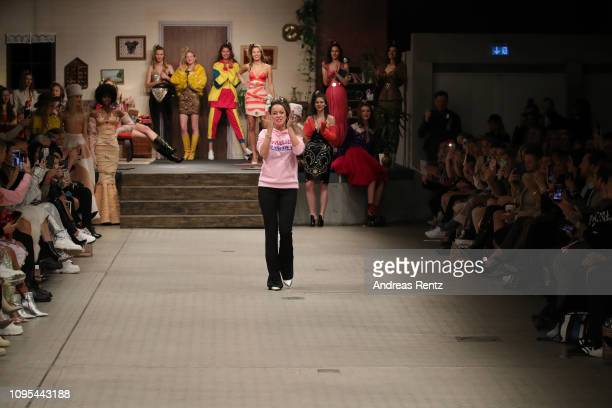 Designer Marina Hoermanseder walks the runway after her Defile during 'Der Berliner Salon' Autumn/Winter 2019 at Vollgutlager on January 17 2019 in...