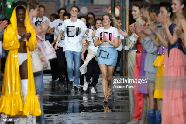 Designer Marina Hoermanseder walks the runway at the Marina Hoermanseder show during the Berliner Mode Salon Spring/Summer 2018 at Kronprinzenpalais...