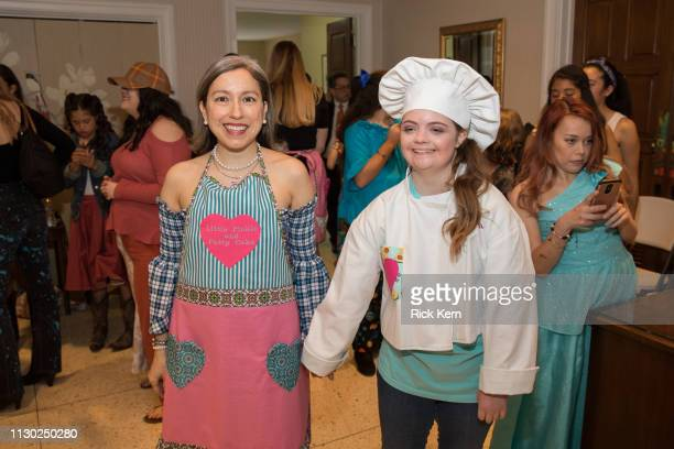 Designer Marisol Deluna and Leah Meyer attend the Marisol Deluna Foundation Community Fashion Show at the San Antonio Garden Center on February 16...