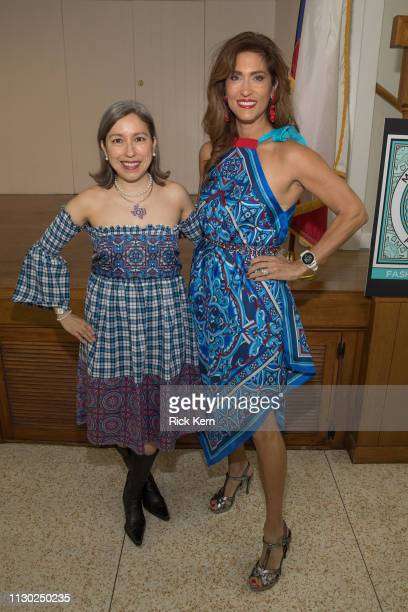 Designer Marisol Deluna and Sarah Lucero attend the Marisol Deluna Foundation Community Fashion Show at the San Antonio Garden Center on February 16...