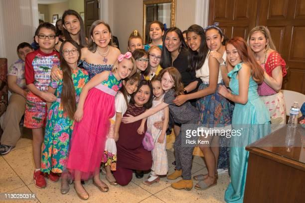 Designer Marisol Deluna Taylor Davila and students attend the Marisol Deluna Foundation Community Fashion Show at the San Antonio Garden Center on...