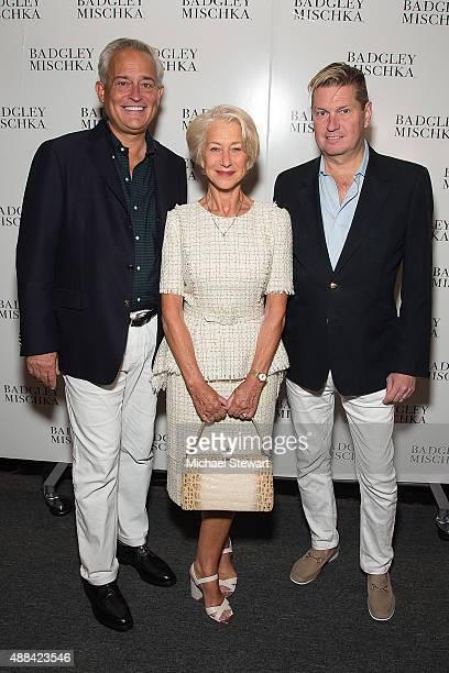 Designer Mark Badgley actress Helen Mirren and designer James Mischka attend the Badgley Mischka fashion show during Spring 2016 New York Fashion...