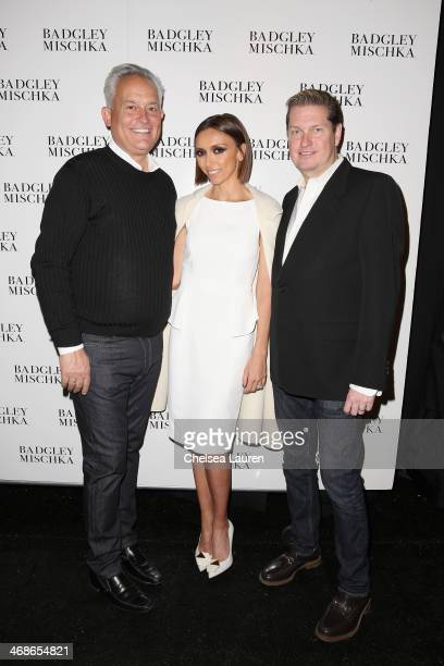 Designer Mark Badgley Giuliana Rancic and designer James Mischka pose backstage at the Badgley Mischka fashion show during MercedesBenz Fashion Week...