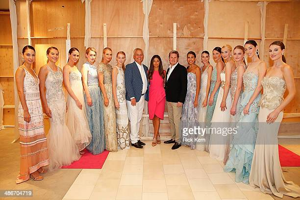 Designer Mark Badgley host Camila Alves McConaughey designer James Mischka and models pose backstage at the Badgley Mischka Fashion Event hosted by...
