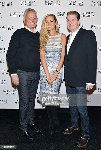 Designer Mark Badgley Petra Nemcova and designer James Mischka attend the Badgley Mischka Show during MercedesBenz Fashion Week Fall 2014 at The...