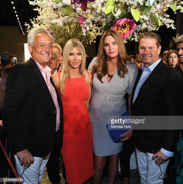 Designer Mark Badgley, Sophia Hutchins, Caitlyn Jenner and designer James Mischka pose backstage at the Badgley Mischka show during New York Fashion...