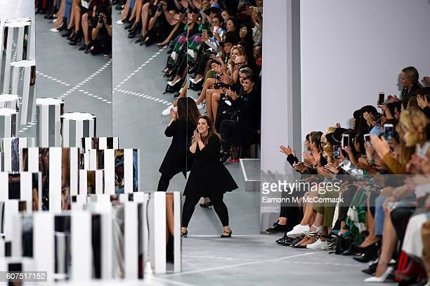 Designer Mary Katrantzou appears on the runway at the Mary Katrantzou show during London Fashion Week Spring/Summer collections 2017 on September 18...
