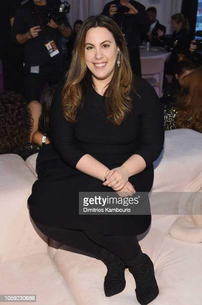 Designer Mary Katrantzou poses backstage during the 2018 Victoria's Secret Fashion Show in New York at Pier 94 on November 8 2018 in New York City