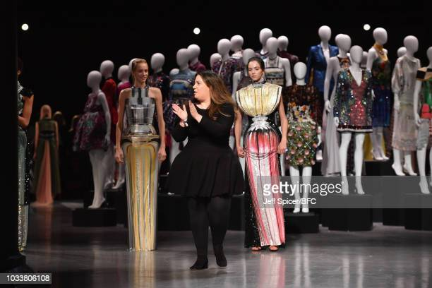 Designer Mary Katrantzou walks the runway during the finale of her show during London Fashion Week September 2018 at The Roundhouse on September 15...