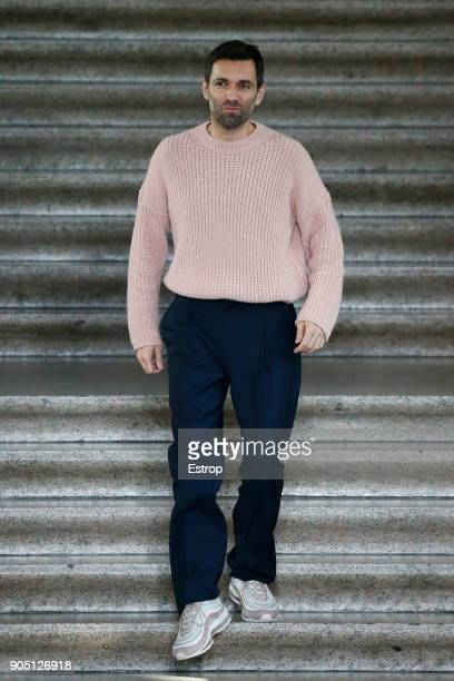 Designer Massimo Giorgetti at the MSGM show during Milan Men's Fashion Week Fall/Winter 2018/19 on January 14 2018 in Milan Italy