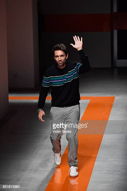 Designer Massimo Giorgetti is seen on the runway at the MSGM show during Milan Men's Fashion Week Fall/Winter 2017/18 on January 16 2017 in Milan...