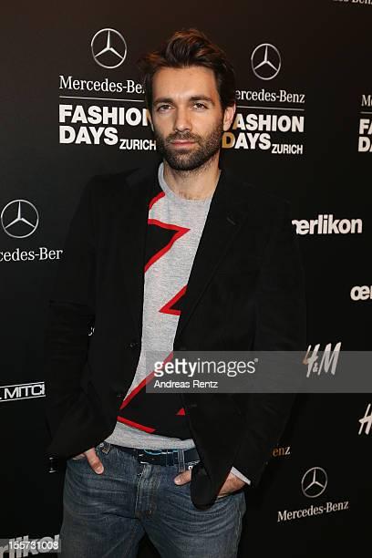 Designer Massimo Giorgetti of MSGM Di Massimo Giorgetti attends the first day of the Mercedes-Benz Fashion Days at Schiffbau on November 7, 2012 in...