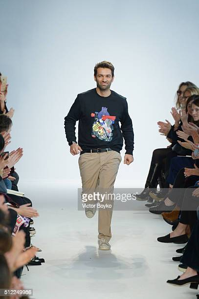 Designer Massimo Giorgetti walks the runway after the Emilio Pucci during Milan Fashion Week Fall/Winter 2016/17 on February 25 2016 in Milan Italy