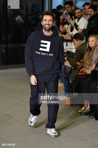 Designer Massimo Giorgetti walks the runway after the MSGM show during Milan Fashion Week Fall/Winter 2018/19 on February 25 2018 in Milan Italy